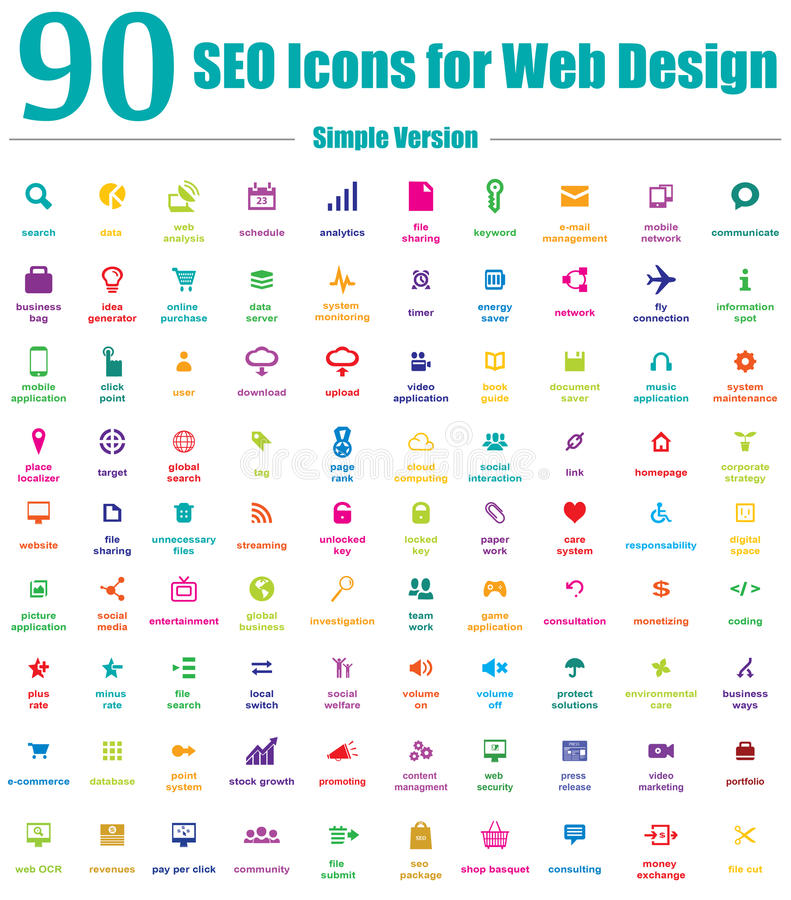 90 icônes de SEO pour la conception web - version simple de couleur illustration de vecteur