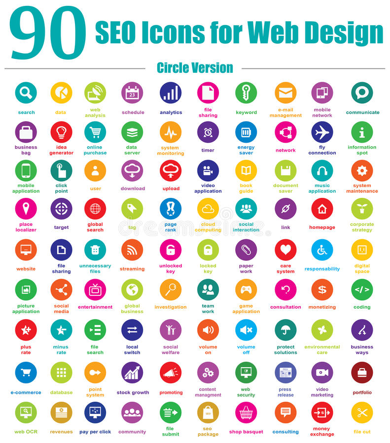 90 icônes de SEO pour la conception web - version de cercle illustration stock