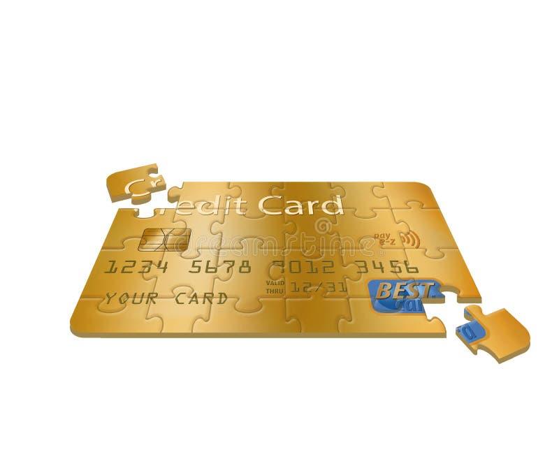 C'est une carte de crédit générique transformée en puzzle denteux illustration de vecteur