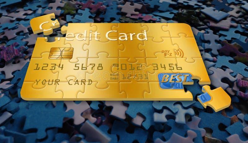 C'est une carte de crédit générique transformée en puzzle denteux illustration stock
