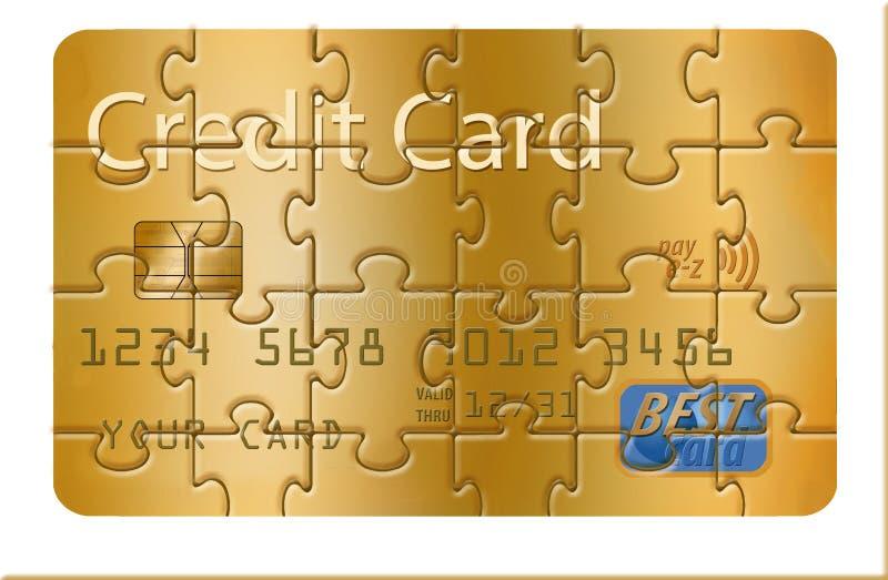 C'est une carte de crédit générique transformée en puzzle denteux illustration libre de droits