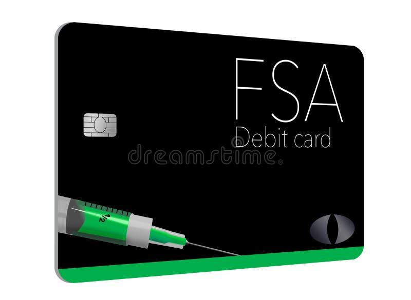 C'est une carte de débit flexible de compte de dépense Cette carte de FSA est générique avec de faux logos illustration stock