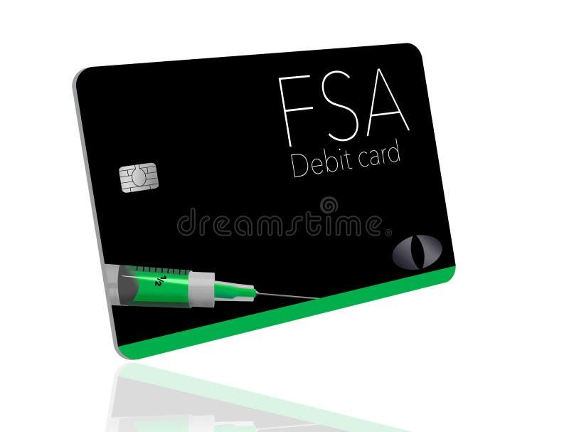 C'est une carte de débit flexible de compte de dépense Cette carte de FSA est générique avec de faux logos illustration de vecteur