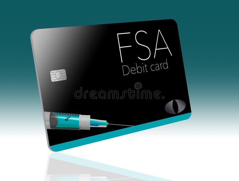 C'est une carte de débit flexible de compte de dépense Cette carte de FSA est générique avec de faux logos illustration libre de droits