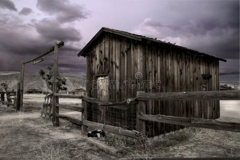 Corral à la ville pionnière image libre de droits
