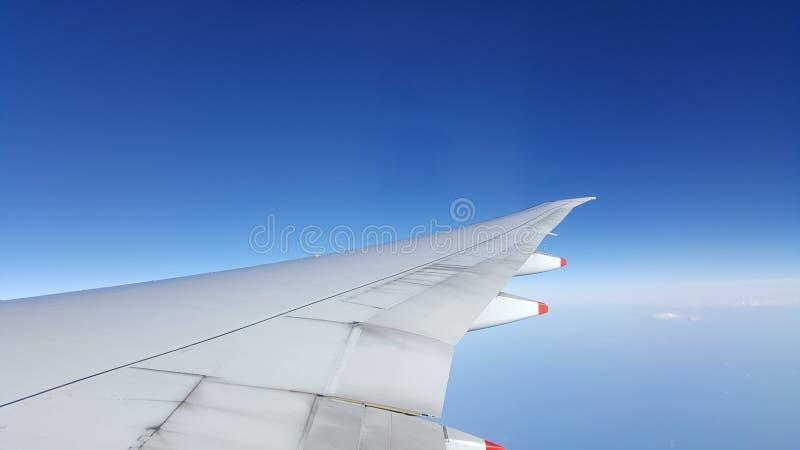 C'est une vue d'aile d'avions Le ciel est profond et bleu Il y a océan bleu étonnant ci-dessous Il est très approprié au fond images libres de droits