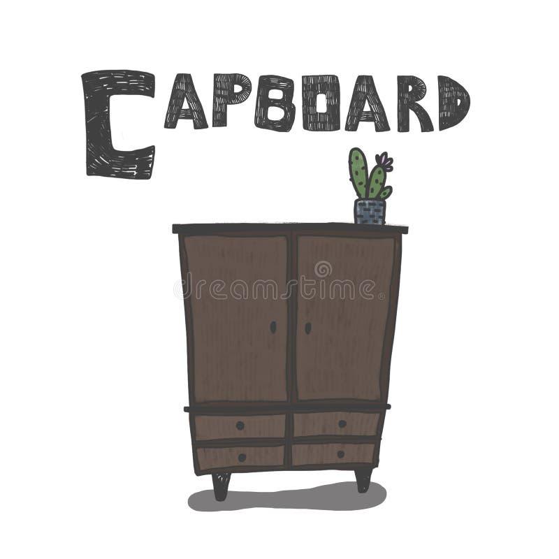 C för skåp stock illustrationer
