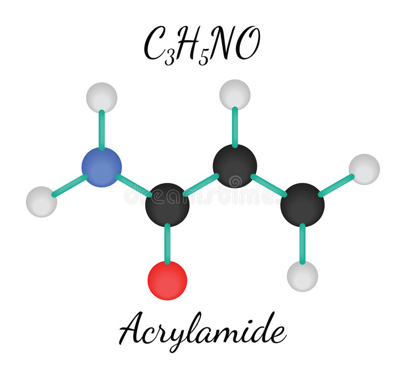 C3H5NO-acrylamidemolekyl stock illustrationer