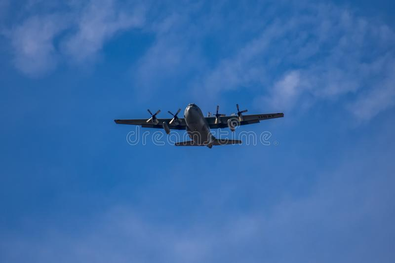 C-130 Hercules Military Airplane Low Fly-By royalty free stock photography