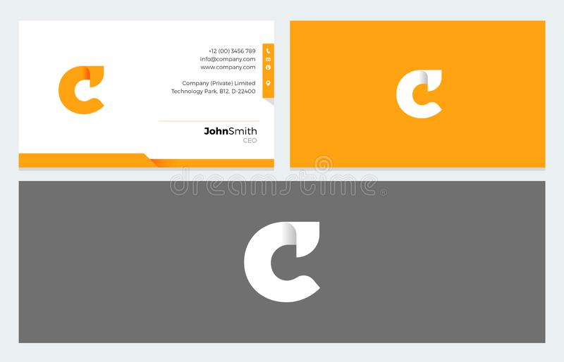 C het embleem van de Brievenorigami en Adreskaartjemalplaatje stock illustratie