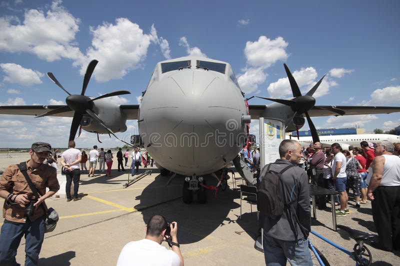 C-27J Spartan military transport. A C-27J Spartan military transport at BIAS 2014, an air show event held on 22 June 2014 in Bucharest, Romania royalty free stock image