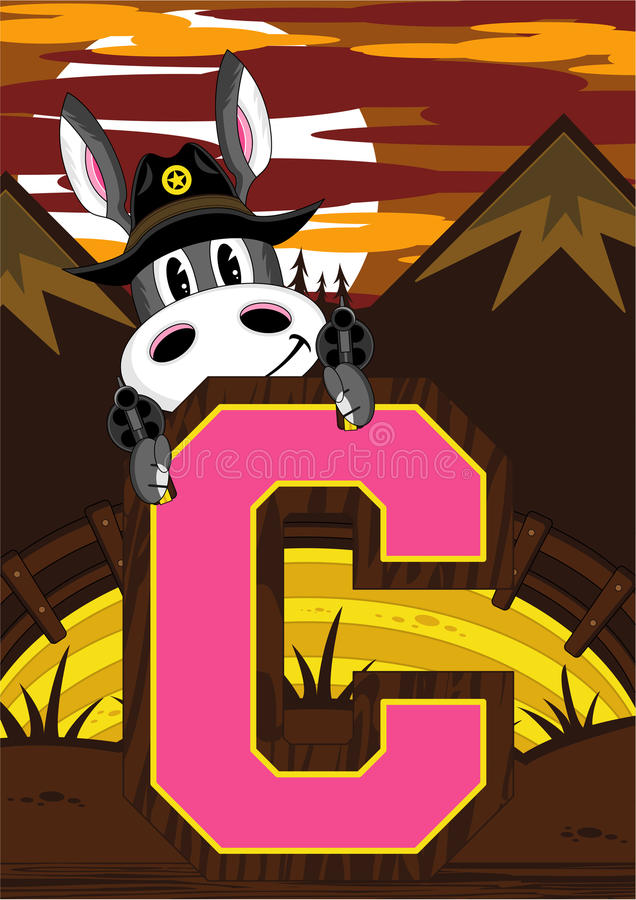 C jest dla kowboja - osioł ilustracji