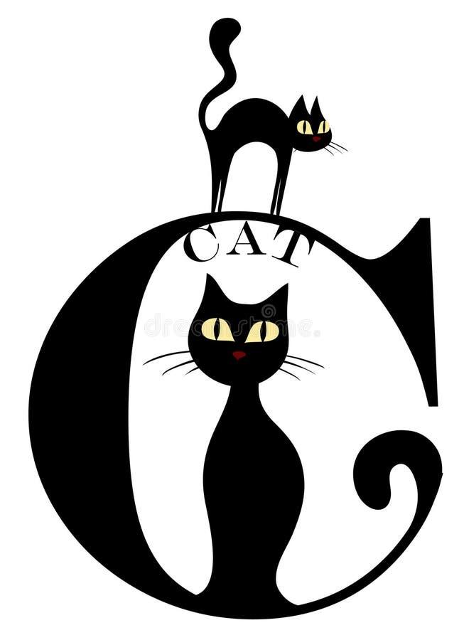 c-kattbokstav royaltyfri illustrationer