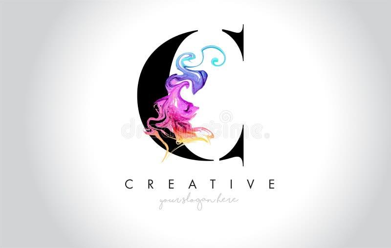 C Leter criativo vibrante Logo Design com tinta colorida Flo do fumo ilustração royalty free
