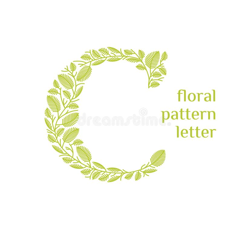 C letter eco logo isolated on white background. Organic bio logo from green grass leaves, plants for corporate identity. Of the company or brand on the letter C royalty free illustration