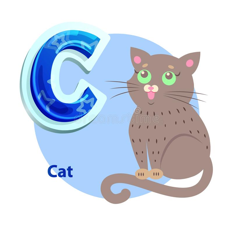 C Letter Flashcard with Cat for Alphabet Showing royalty free illustration