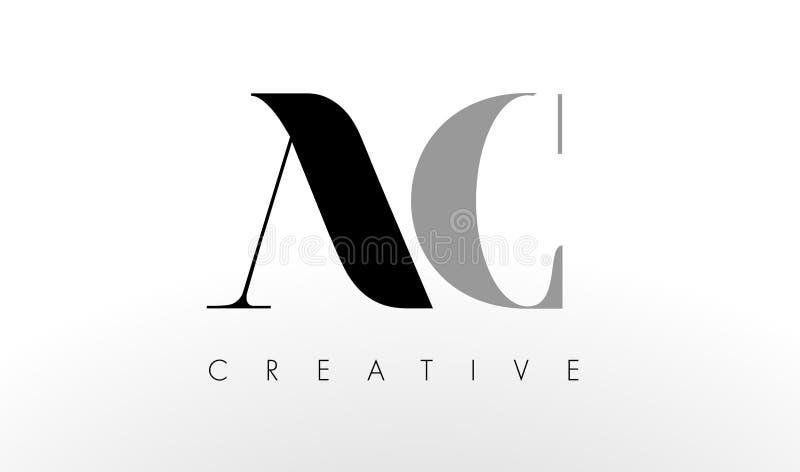A.C. Letter Logo Design La CA creativa pone letras al icono ilustración del vector