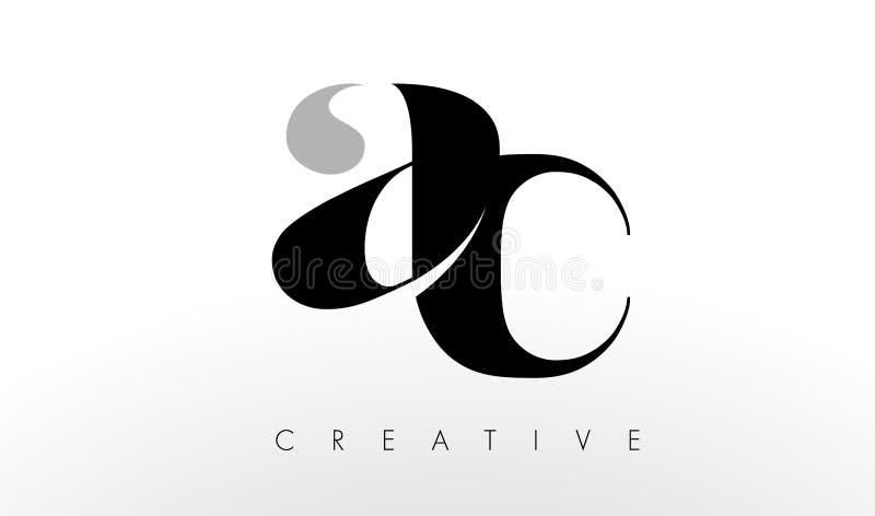 A.C. Letter Logo Design La CA creativa pone letras al icono stock de ilustración