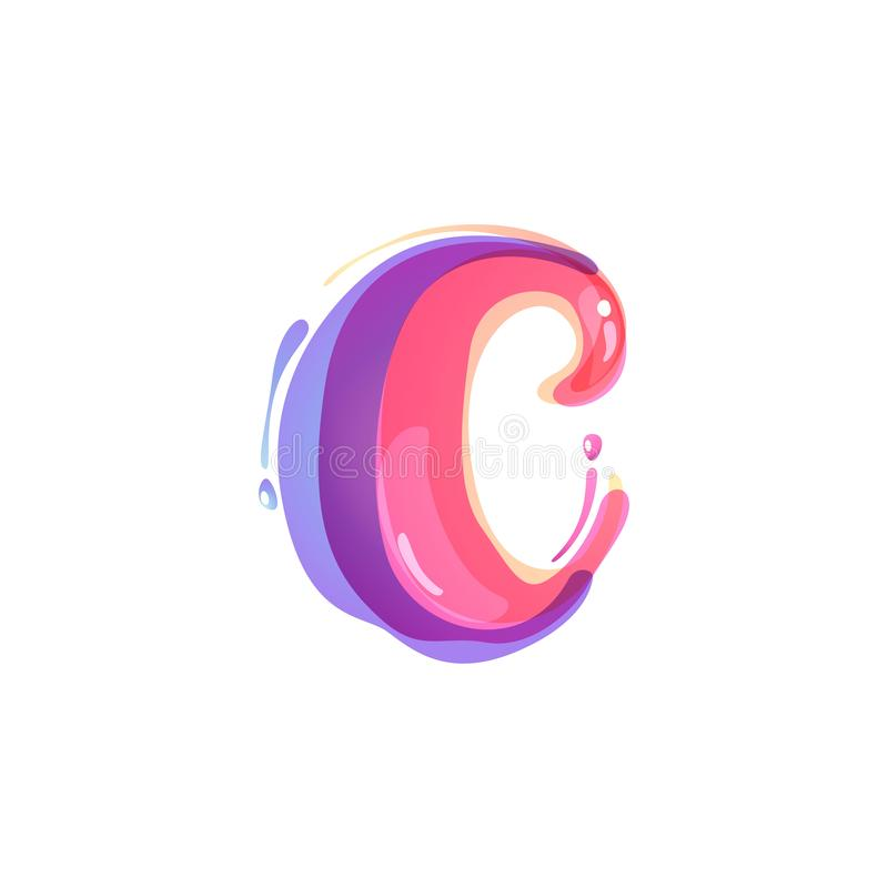 C letter logo formed by watercolor splashes. Color overlay style. Vector typeface for labels, headlines, posters, cards etc vector illustration