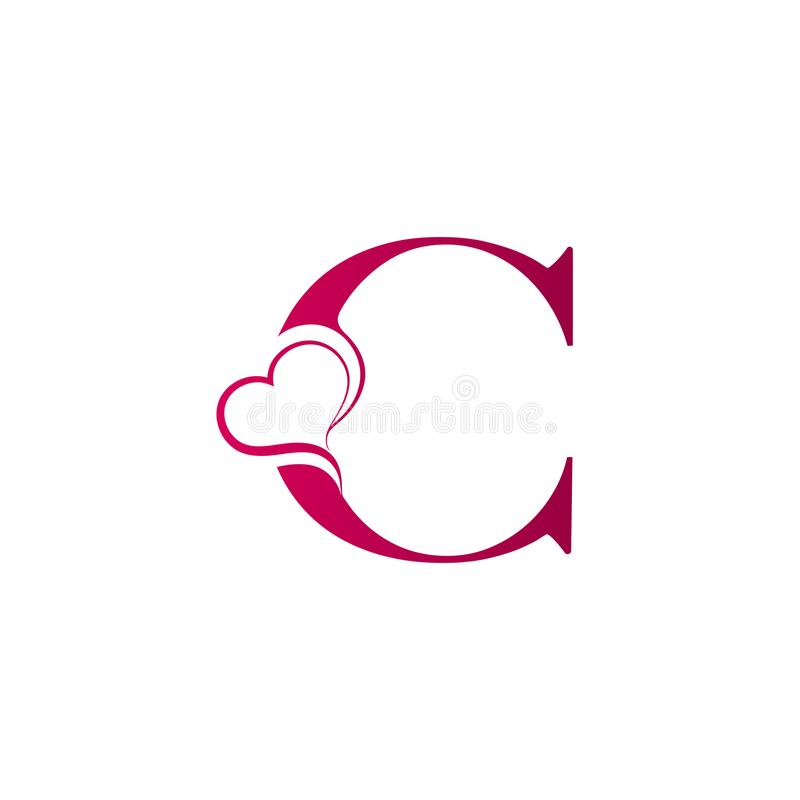 Free C Letter Logo With Heart Icon, Valentines Day Concept Royalty Free Stock Images - 124233669