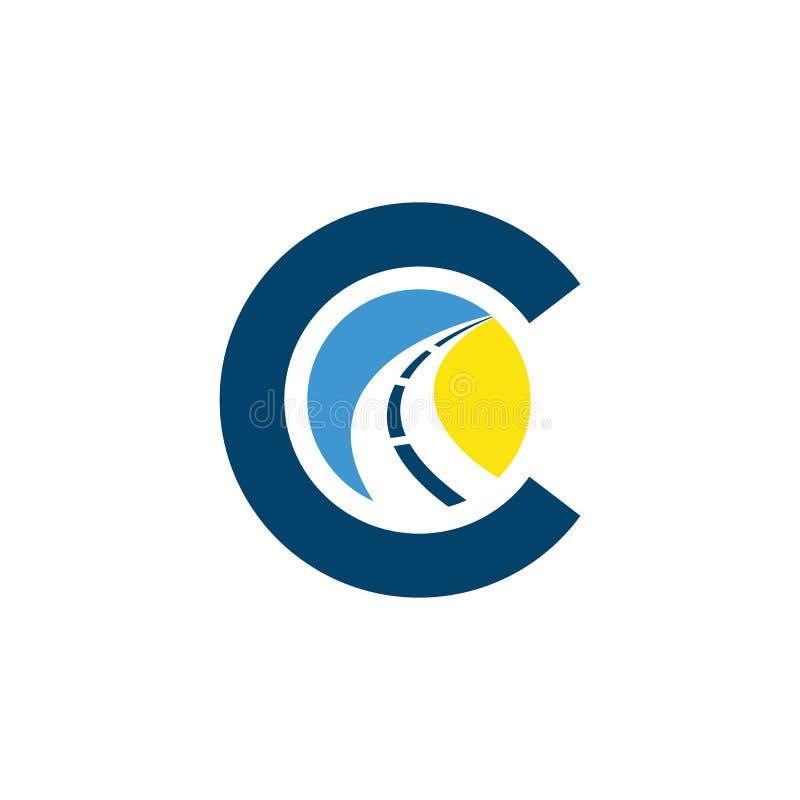 C letter road construction creative symbol layout. Paving logo design concept. Asphalt repair company sign idea stock illustration