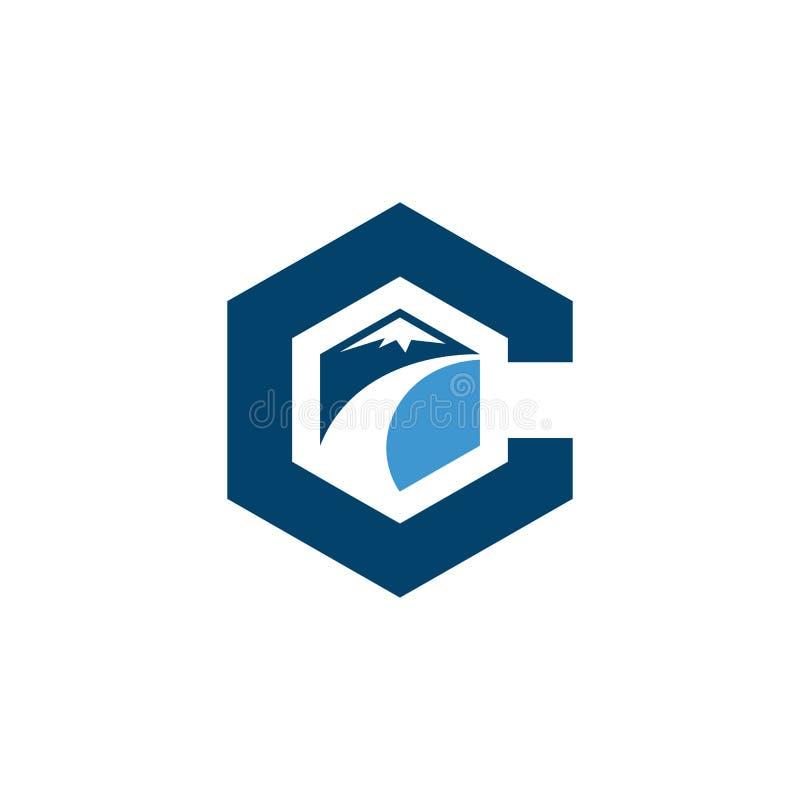 C letter road construction creative symbol layout. Paving logo design concept. Asphalt repair company sign idea vector illustration