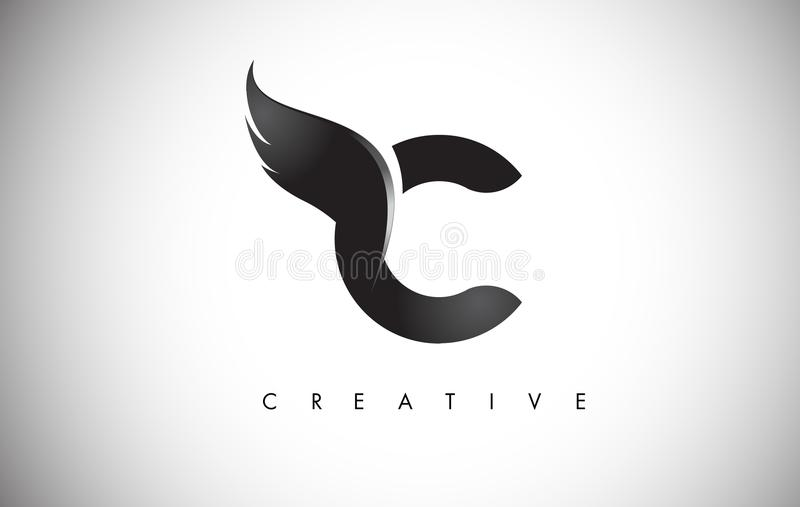 C Letter Wings Logo Design with Black Bird Fly Wing Icon. stock illustration