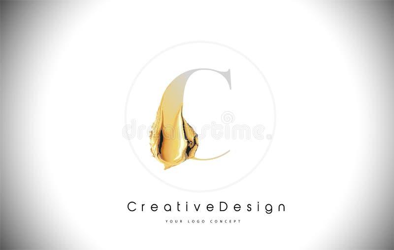C Listowego projekta muśnięcia farby Złoty uderzenie Złocista koloru żółtego c listu logo ikona z Artystycznym Paintbrush royalty ilustracja