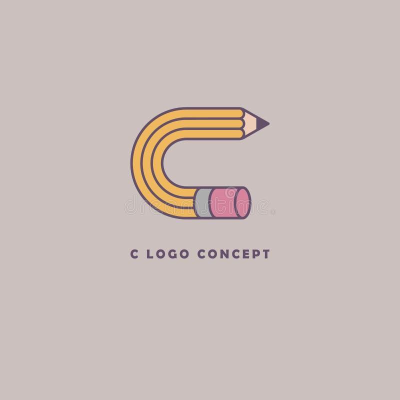 C Logo Concept C monogram Kunstacademiesymbool, c-brief als potlood Creatief Pictogram vector illustratie