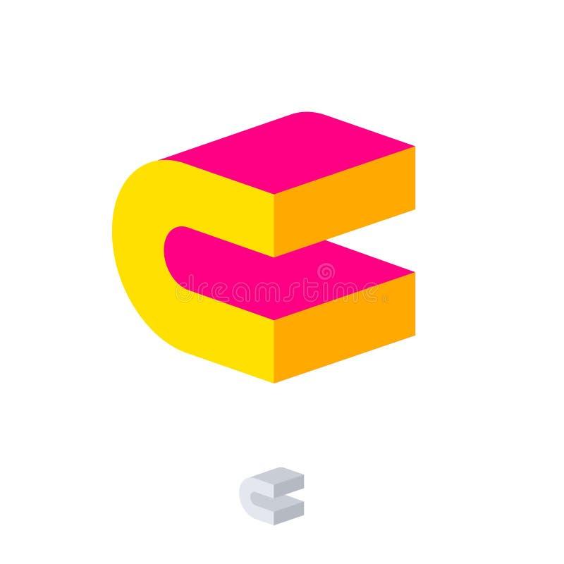 C Logo Emblema de la construcción Monograma de C emblema rosado y amarillo de 3D Logotipo abstracto del volumen Logotipo del edif stock de ilustración