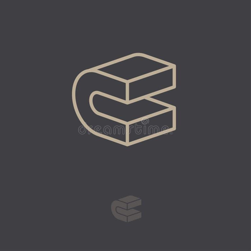 C Logo Konstruktionsemblem C-monogram linjär bokstav 3D Abstrakt volymlogo royaltyfri illustrationer