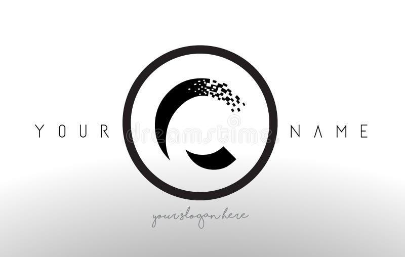 C Logo Letter com vetor do projeto da tecnologia do pixel de Digitas ilustração stock