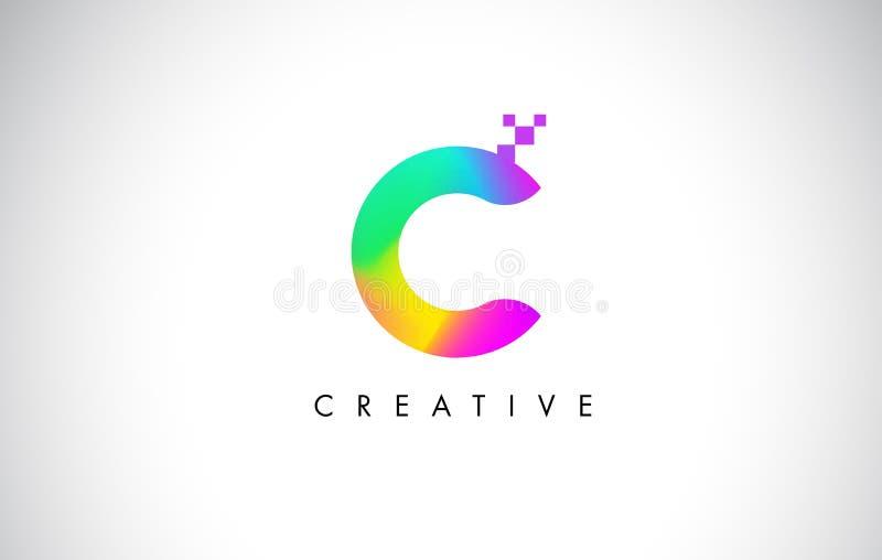 C Logo Letter Design Vetora colorido Inclinação criativo do arco-íris ilustração royalty free