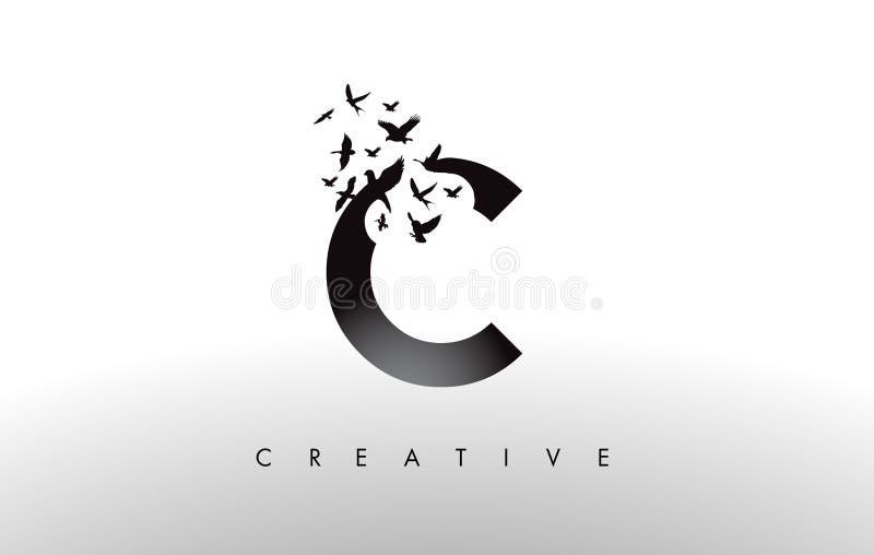 C Logo Letter mit Menge von den Vögeln, die von fliegen und sich auflösen lizenzfreie abbildung