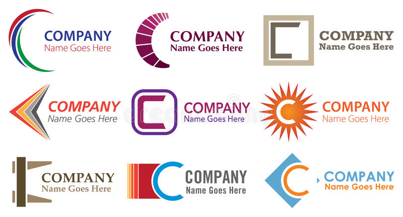 C Logo Set. The letter C alphabetical logo icon set stock illustration