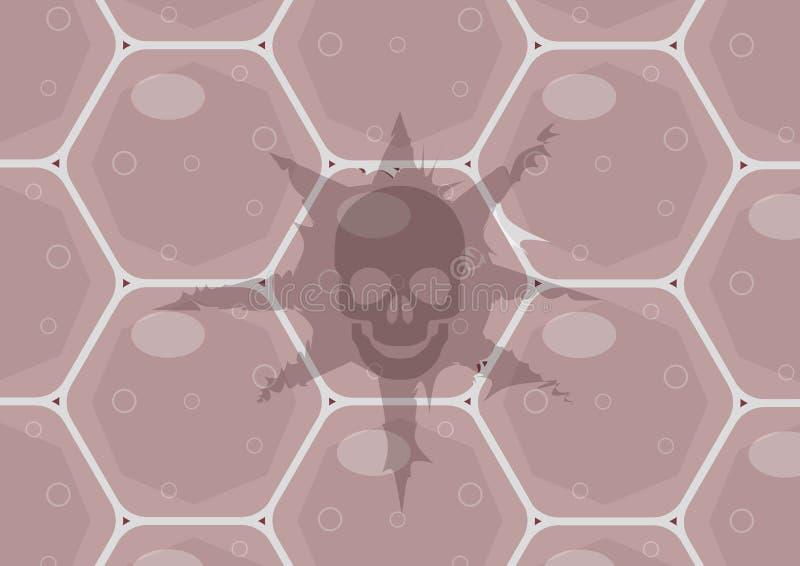 C?lulas cancerosas A importância da verificação médica anual e do teste do ADN para risco subjacente para tumores ilustração do vetor