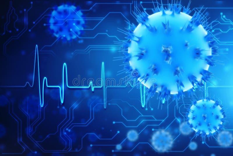 c?lulas de las bacterias del virus de la representaci?n 3d en fondo digital ilustración del vector