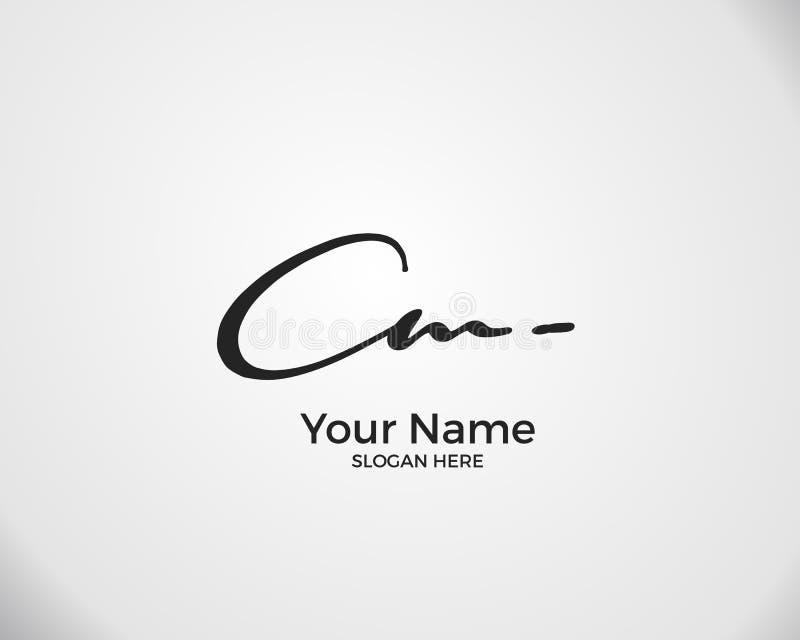 C M CM Anfangszeichen Logo für Handschrift stock abbildung
