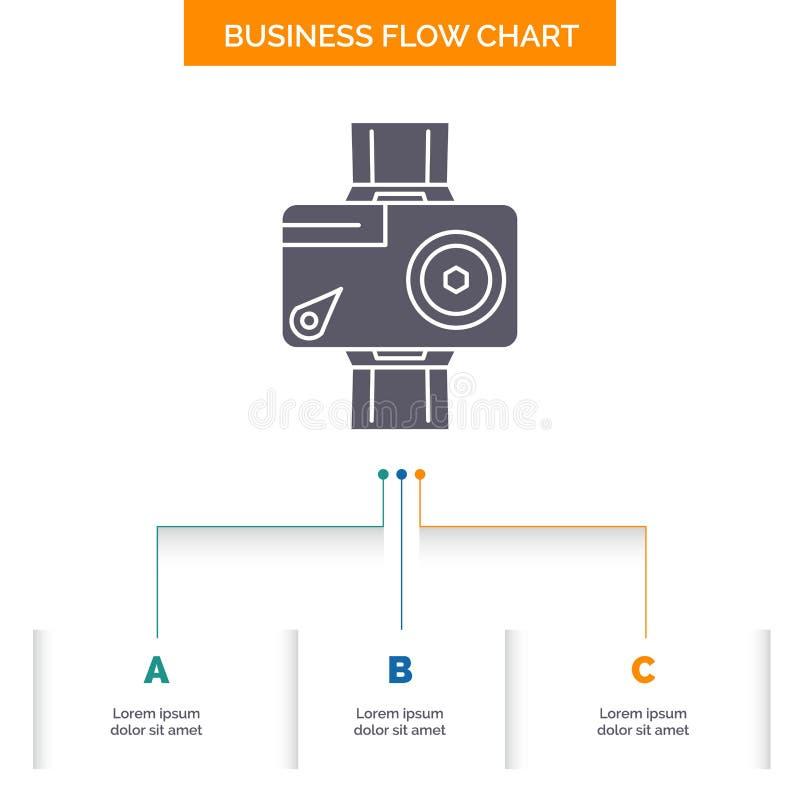 c?mara, acci?n, digital, video, dise?o del organigrama del negocio de la foto con 3 pasos Icono del Glyph para la plantilla del f stock de ilustración