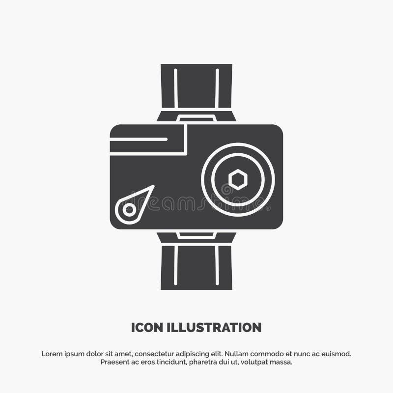 c?mara, acci?n, digital, video, icono de la foto s?mbolo gris del vector del glyph para UI y UX, p?gina web o aplicaci?n m?vil stock de ilustración