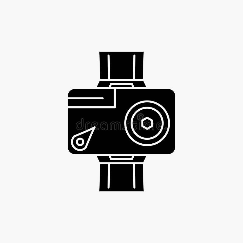 c?mara, acci?n, digital, video, icono del Glyph de la foto Ejemplo aislado vector ilustración del vector