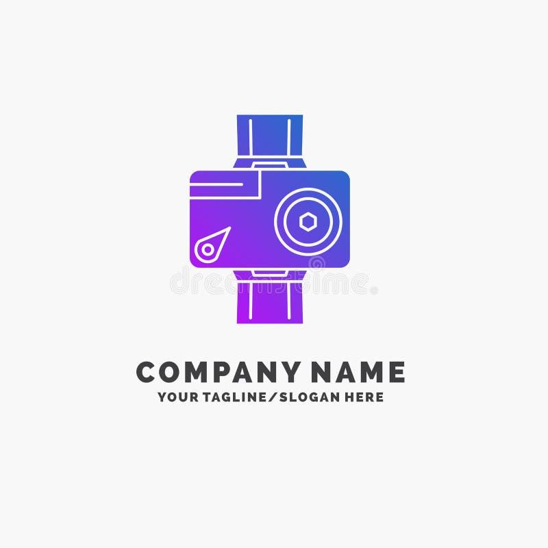 c?mara, acci?n, digital, video, negocio p?rpura Logo Template de la foto Lugar para el Tagline stock de ilustración