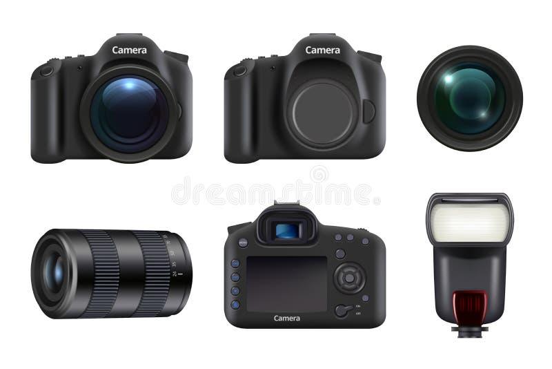 C?mara digital Vector profesional de la lente y de los flashes de cámara del dslr del equipo del estudio de la foto realista stock de ilustración