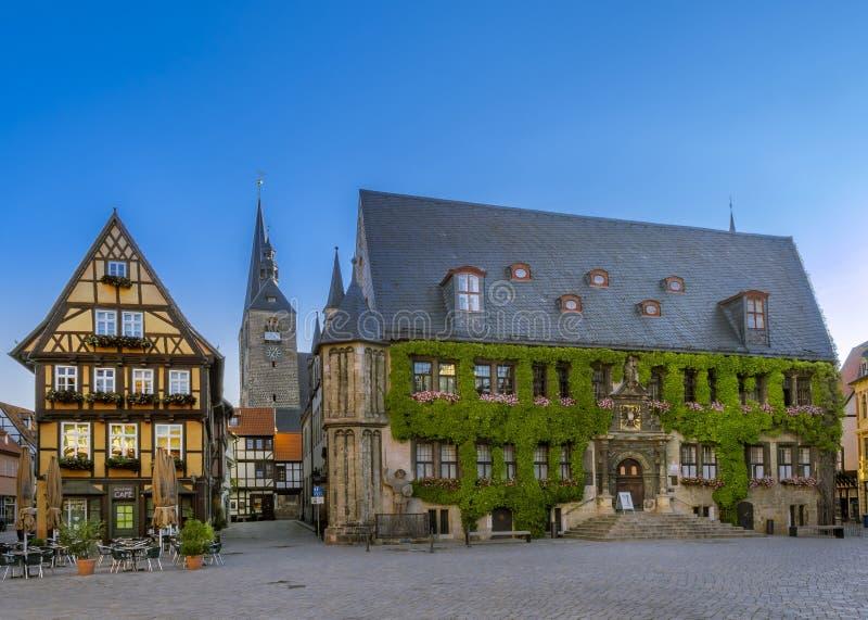 C?mara municipal velha na cidade hist?rica Quedlinburg, Alemanha imagens de stock