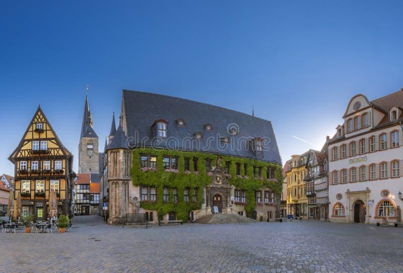 C?mara municipal velha na cidade hist?rica Quedlinburg, Alemanha fotografia de stock