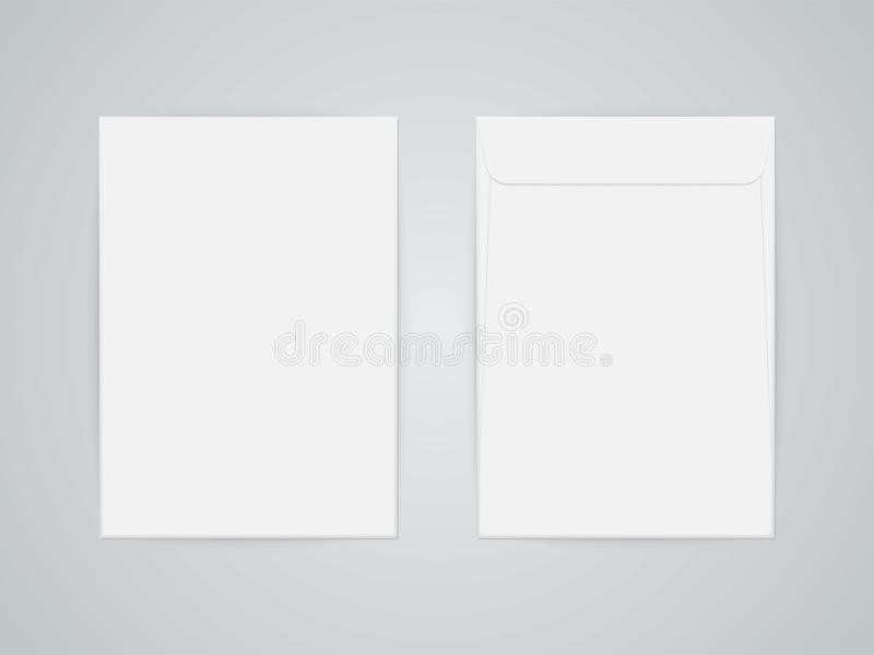 C4 masquent l'enveloppe blanche de papier de lettre de vecteur de maquette illustration libre de droits
