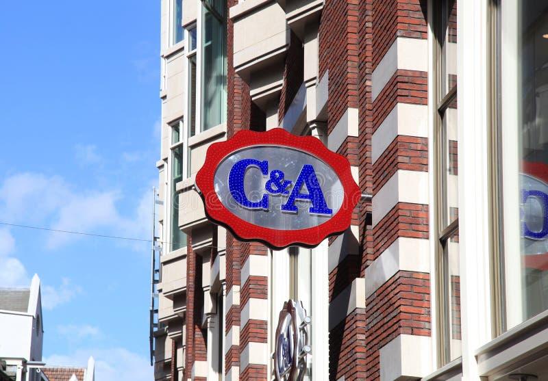 C&A merkembleem, Amsterdam royalty-vrije stock fotografie