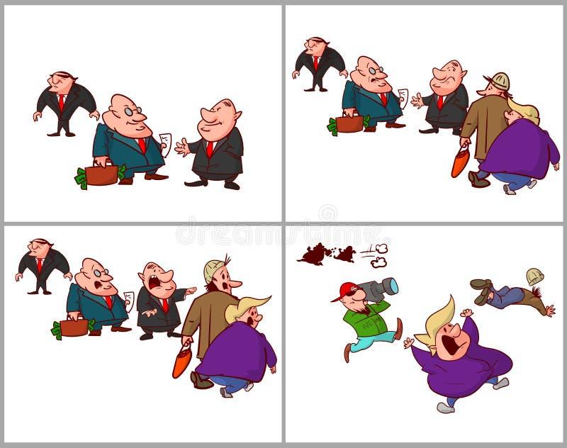 Cômico de políticos corrompidos, encontrando-se ilustração stock