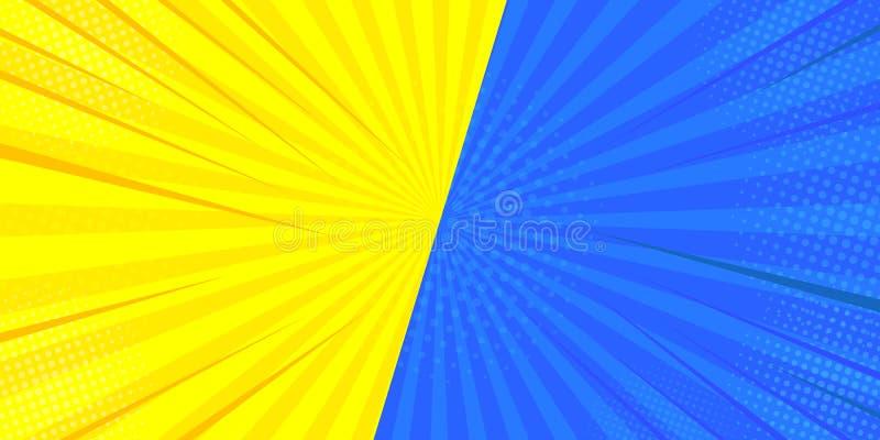 C?mico retro do pop art Fundo azul, amarelo do super-herói Explosões do relâmpago dos pontos de intervalo mínimo Desenhos animado ilustração stock