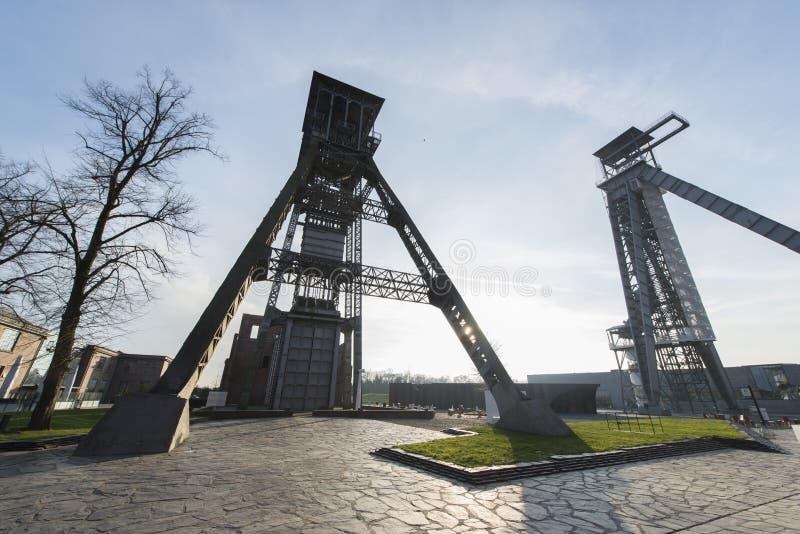 C-Mine in Genk, Belgium. Panorama of two towers of the C-Mine in Genk, Belgium stock photography